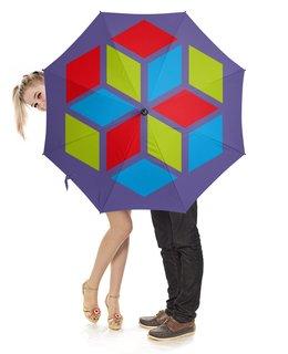"""Зонт-трость с деревянной ручкой """"Зонт трость"""" - графика, зонт, ромб, шестигранник"""