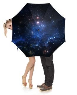 """Зонт-трость с деревянной ручкой """"Космос"""" - космос, небо, облака, вселенная, звёзды"""