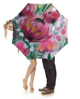 """Зонт-трость с деревянной ручкой """"Полевые цветы"""" - лето, цветы, весна, розовый, подарок"""