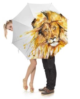 """Зонт-трость с деревянной ручкой """"Львиный зов"""" - зверь, мужчина, лев, царь, животное"""
