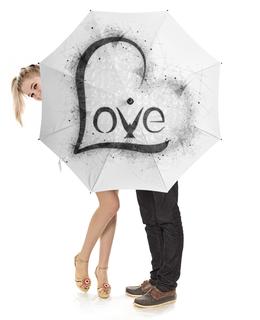 """Зонт-трость с деревянной ручкой """"Love Umbrella"""" - сердце, любовь, день святого валентина, 8 марта, голубь"""