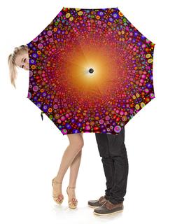 """Зонт-трость с деревянной ручкой """"Яркий колейдоскоп"""" - арт, абстракция, колейдоскоп, яркая"""