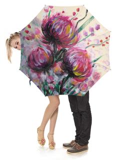 """Зонт-трость с деревянной ручкой """"Розовый репейник"""" - лето, цветы, картина, масло, живопись"""