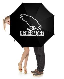 """Зонт-трость с деревянной ручкой """"Nevermore"""" - crow, bird, nevermore, edgar, rawen"""