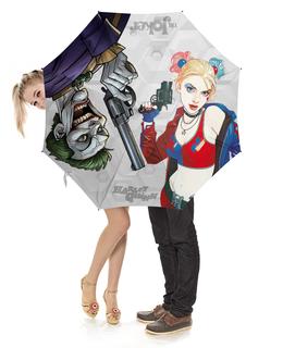 """Зонт-трость с деревянной ручкой """"The Joker & Harley Quinn Design"""" - джокер, харли квинн, dc комиксы, отряд самоубийц, суперзлодеи"""