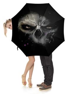 """Зонт-трость с деревянной ручкой """"маска    """" - череп, маска, с черепом"""