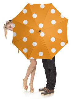 """Зонт-трость с деревянной ручкой """"Оранжевый горошек"""" - узор, стиль, рисунок, орнамент, классический"""
