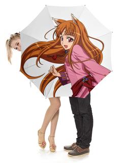 """Зонт-трость с деревянной ручкой """"Волчица и пряности"""" - аниме, волчица и пряности, okami to koshinryo, spice and wolf, девушки аниме"""