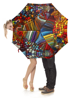 """Зонт-трость с деревянной ручкой """"Ветраж"""" - арт, цвета, стекло, абстракция, витраж"""