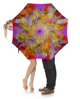 """Зонт-трость с деревянной ручкой """"Яркое настроение!"""" - цветы, цветок, фантазия, цветник, яркое настроение"""