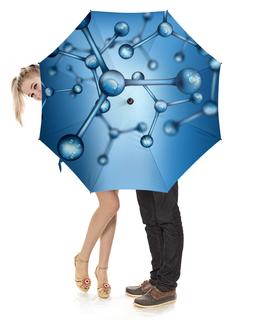 """Зонт-трость с деревянной ручкой """"Молекула"""" - молекула, атом, нано, частица, микро"""