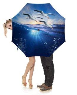 """Зонт-трость с деревянной ручкой """"МОРСКОЙ ЭТЮД"""" - море, волна, природа, фэнтези, чайки"""