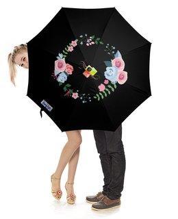 """Зонт-трость с деревянной ручкой """"Стильные розы"""" - розы, букет, розовый букет, цветочный букет, черный зонт"""