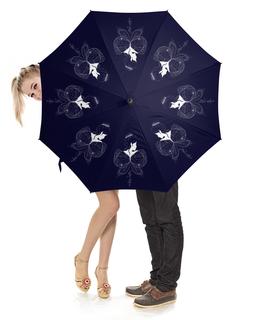 """Зонт-трость с деревянной ручкой """"Красивая эльфийка с крыльями. Фэнтези иллюстрация"""" - бабочка, девушка, эльф, фея, сказка"""