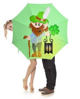 """Зонт-трость с деревянной ручкой """"Лепрекон с фонарем и волшебный клевер"""" - клевер, фонарь, день святого патрика, карлик"""