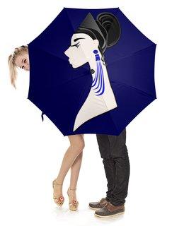 """Зонт-трость с деревянной ручкой """"Девушка в синих сережках"""" - очки, брюнетка, перья, красивая женщина, синие длинные серьги"""
