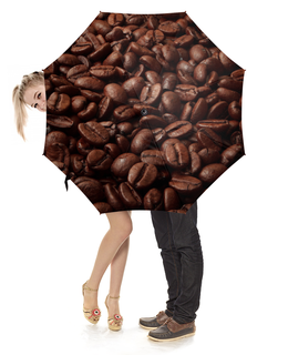 """Зонт-трость с деревянной ручкой """"Кофе     """" - еда, кофе"""