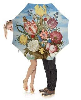 """Зонт-трость с деревянной ручкой """"Букет цветов на полке (Амброзиус Босхарт)"""" - цветы, картина, живопись, натюрморт, босхарт"""