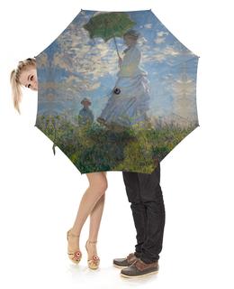 """Зонт-трость с деревянной ручкой """"Дама с зонтиком — Мадам Моне со своим сыном"""" - картина, моне"""
