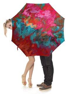 """Зонт-трость с деревянной ручкой """"Красивые абстрактные переливы, уникальный дизайн"""" - яркий, акварель, абстрактный, художественный, красочный"""
