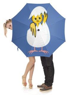 """Зонт-трость с деревянной ручкой """"желтый новорожденный цыпленок"""" - животные, птицы, день рождения, иллюстрация, новая жизнь"""