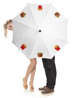 """Зонт-трость с деревянной ручкой """"картофель фри,бургер"""" - бургер, картошка фри"""