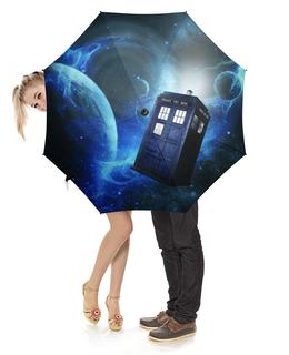 """Зонт-трость с деревянной ручкой """"ТАРДИС"""" - тардис, доктор кто, космос, tardis, doctor who"""