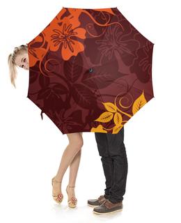 """Зонт-трость с деревянной ручкой """"Цветочный"""" - цветы, цветочный, узор, стиль, орнамент"""