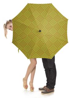 """Зонт-трость с деревянной ручкой """"Горох в квадрате"""" - узор, орнамент, квадрат, геометрия, горох"""