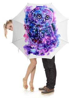 """Зонт-трость с деревянной ручкой """"космическая сова"""" - space, космос, сова, owl, совенок"""