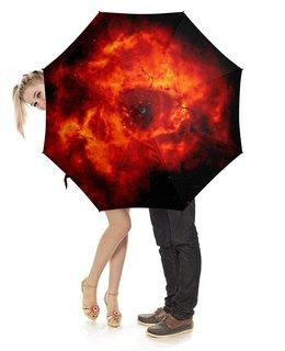 """Зонт-трость с деревянной ручкой """"Туманность"""" - космос, вселенная, галактики, астрономия"""