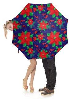 """Зонт-трость с деревянной ручкой """"Пуансеттия"""" - новый год, цветок, рождество, остролист, рождественская звезда"""