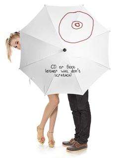 """Зонт-трость с деревянной ручкой """"CD или титя"""" - диск, грудь, cd, не царапать"""