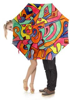 """Зонт-трость с деревянной ручкой """"FWE`11ECCCJJ"""" - арт, узор, абстракция, фигуры, текстура"""