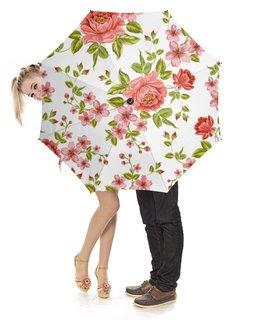 """Зонт-трость с деревянной ручкой """"Цветы"""" - розы, цветы"""