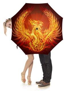 """Зонт-трость с деревянной ручкой """"Птица Феникс"""" - красота, пламя, стиль, крылья"""