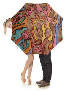 """Зонт-трость с деревянной ручкой """"R1AZQ00"""" - арт, узор, абстракция, фигуры, текстура"""