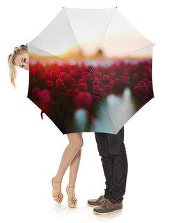 """Зонт-трость с деревянной ручкой """"Тюльпаны"""" - фото"""