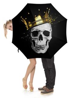 """Зонт-трость с деревянной ручкой """"Ёрик             """" - бедный йорик, череп в короне"""