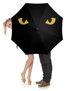 """Зонт-трость с деревянной ручкой """"Кошка"""" - кот, глаза"""