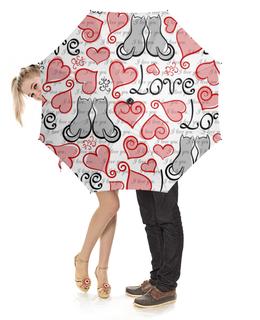 """Зонт-трость с деревянной ручкой """"День Св. Валентина"""" - сердце, любовь, коты, день св валентина"""