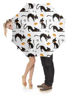"""Зонт-трость с деревянной ручкой """"Кошки"""" - кошка, стиль, рисунок, коты, кошачий"""