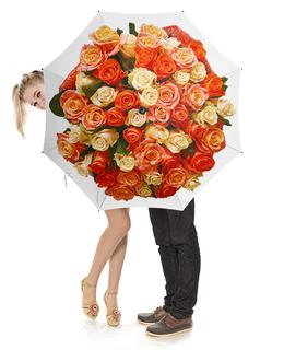 """Зонт-трость с деревянной ручкой """"Розовый круг"""" - розы, букет роз, круглый букет, охапка цветов, роскошный букет"""