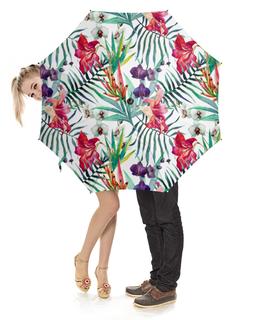 """Зонт-трость с деревянной ручкой """"Тропические цветы"""" - милый, лето, пальма, орхидея, женственно"""