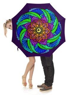 """Зонт-трость с деревянной ручкой """"Яркий цветок в этническом стиле"""" - девушка, цветы, этнический, индийский, мехенди"""