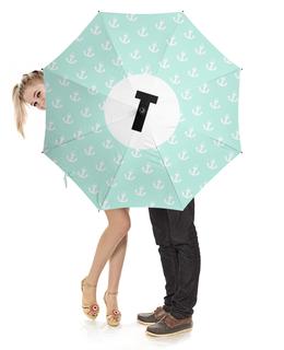 """Зонт-трость с деревянной ручкой """"Монограмма"""" - подарок, монограмма, имя, персональный"""