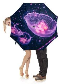 """Зонт-трость с деревянной ручкой """"Jellyfish"""" - медуза, jellyfish"""