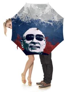 """Зонт-трость с деревянной ручкой """"Путин"""" - очки, патриот, флаг, путин, putin"""