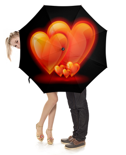 """Зонт-трость с деревянной ручкой """"сердца"""" - сердце, на день святого валентина"""