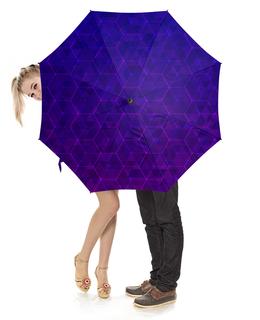 """Зонт-трость с деревянной ручкой """"Purple fit"""" - фиолетовый, ячейки, соты"""